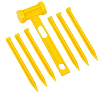 Plastic Pegs And Mallet Set 7 Pce