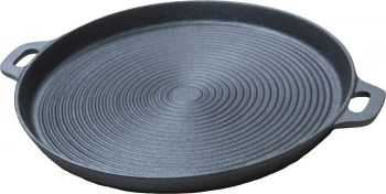 ROUND BBQ CAST IRON PLATE RIBBED