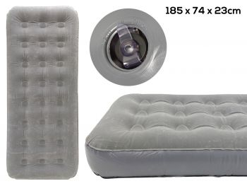 SINGLE COIL BEAM FLOCKED AIRBED 185X74X23CM