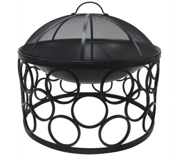 OUTDOOR FIRE PIT ROUND WITH COVER BLACK CLR IRON 58 X 51CM